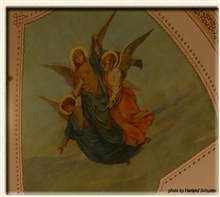 One of theree paintings on ceiling of apse.
